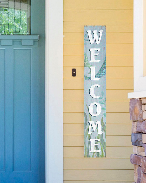 Outdoor Welcome Sign for Porch - Mermaid - Vertical Porch Board 8x47 Beach House Decor