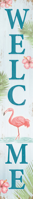 Outdoor Welcome Sign for Porch - Flamingo - Vertical Porch Board 8x47 Tropical Theme