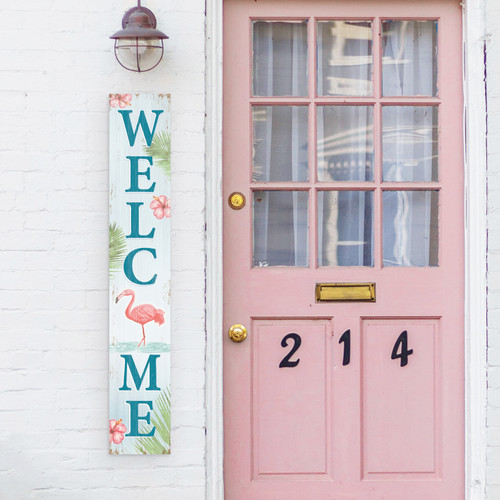 Outdoor Welcome Sign for Porch - Flamingo - Vertical Porch Board 8x47 Tropical Theme