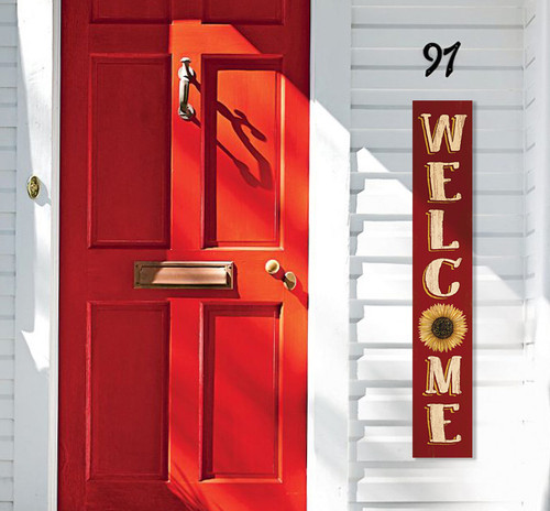 Outdoor Welcome Sign for Porch - Yellow Sunflower On Barn Red Board - Vertical Porch Board 8x47