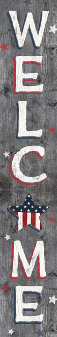Outdoor Welcome Sign for Porch - Patriotic - Vertical Porch Board 8x47 Gray Barnboard Look With Star