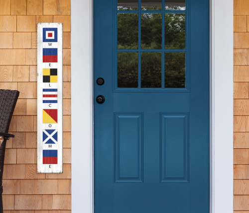 Outdoor Welcome Sign for Porch - Nautical Flags - Vertical Porch Board 8x47 Maritime Nautical Signals