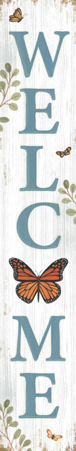 Outdoor Welcome Sign for Porch - Monarch Butterfly - Vertical Porch Board 8x47