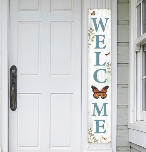 Outdoor Welcome Sign for Porch - Monarch Butterfly - Vertical Porch Board 8x47 White With Blue Lettering