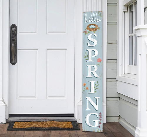 Outdoor Welcome Sign for Porch - Hello Spring - Vertical Porch Board 8x47 Robin's Nest Blue With White Lettering
