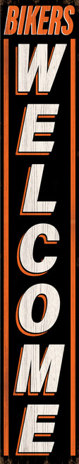 Outdoor Welcome Sign for Porch - Bikers Welcome Black and Orange Vertical Porch Board 8X47