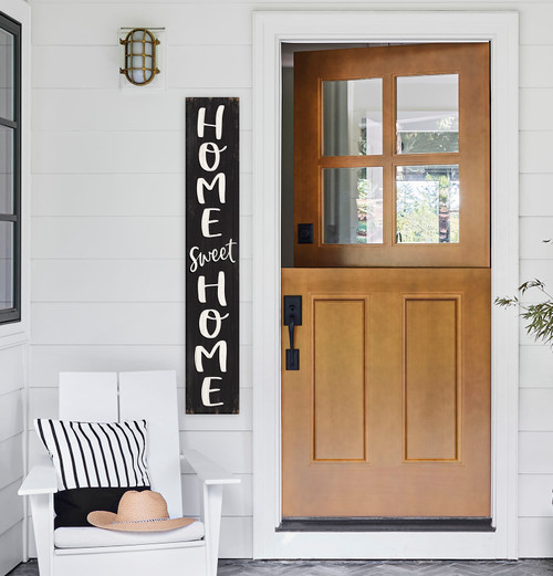Outdoor Welcome Sign for Porch - Home Sweet Home - Vertical Porch Board 8x47 Charcoal Gray  With White Lettering