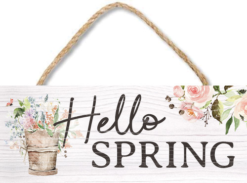Hello Spring Wooden Sign - 4X10