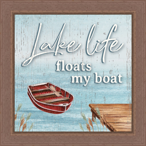 Lake Life Floats My Boat Pine Wood Framed Sign - 7.5X7.5