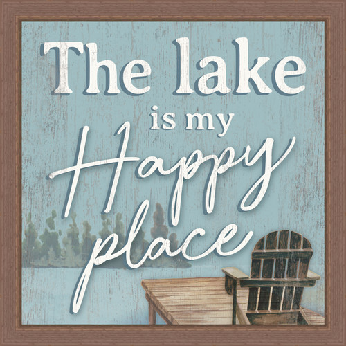 The Lake Is My Happy Place Pine Wood Framed Sign - 12X12
