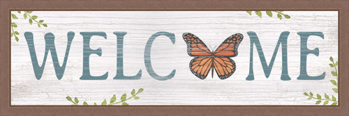 Welcome With Monarch Butterfly Pine Wood Framed Sign - 8X24