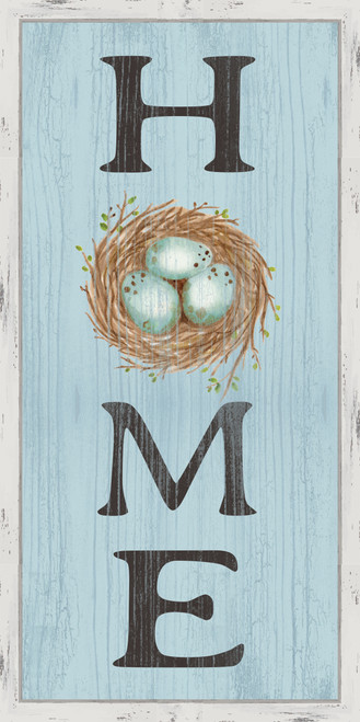 Home With Nest Pine Wood Framed Sign - 12X24