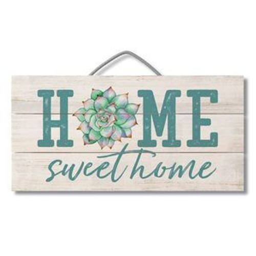 Home Sweet Home With Succulents 12x6 Hanger