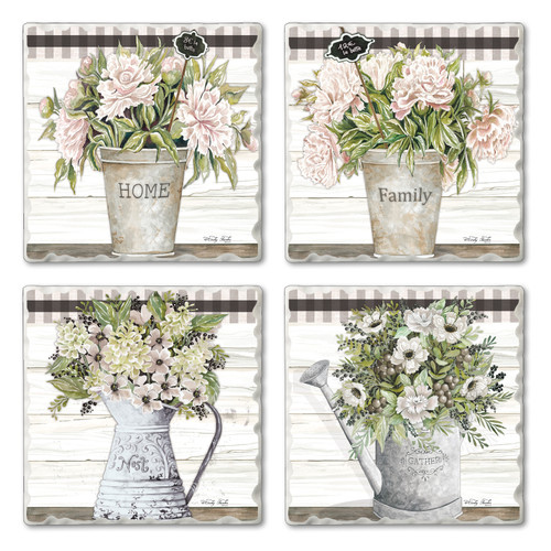 Tile Coasters - Vintage Style Bouquets - Set of 4
