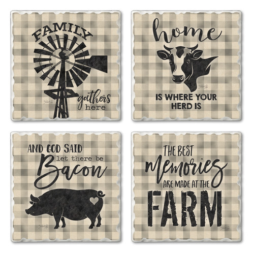 Tile Coasters - Family Farm - Set of 4