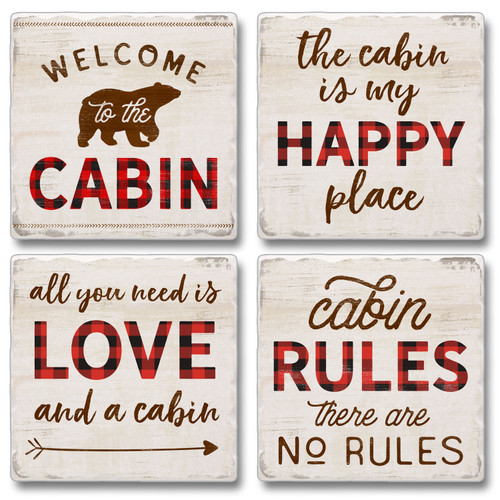Tile Coasters - Cabin Living - Set of 4