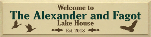 9x36 Cream board with Brown and Dark Green board   Welcome To The Alexander and Fagot Lake House Est. 2018