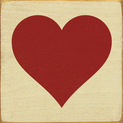 Wood Sign - Red Heart 7x7