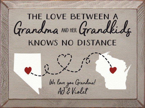 The Love Between A Grandma And Her Grandkids Knows No Distance Wood Sign