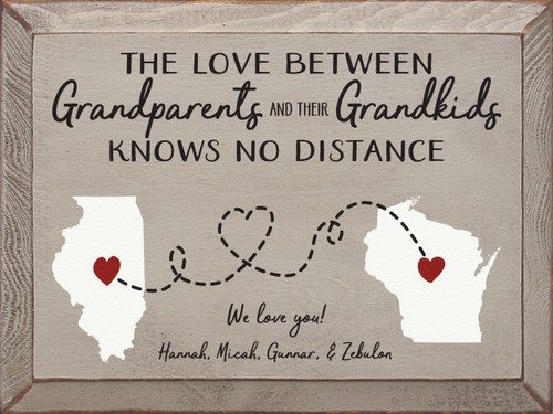 The Love Between Grandparents And Their Grandkids Knows No Distance Wood Sign