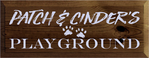 7x18 Walnut Stain board with Lavender text  Patch & Cinder's Playground