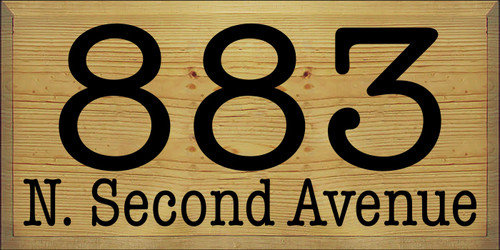 12x24 Butternut Stain board with Black text   883 N. Second Avenue