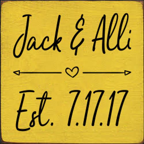 7x7 Sunflower board with Black text  Jack & Alli Est. 7.17.17