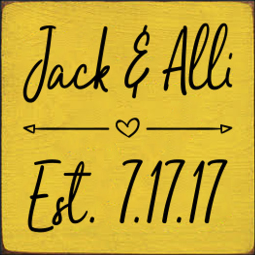 7x7 Sunflower board with Black text  Jack & Alli Est. 7.17.17
