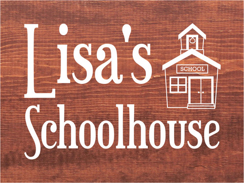 9x12 Chestnut Stain board with White text  Lisa's Schoolhouse
