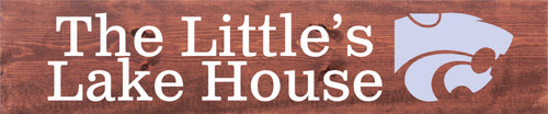 10x48 Chestnut Stain board with White and Lavender text  The Little's Lake House