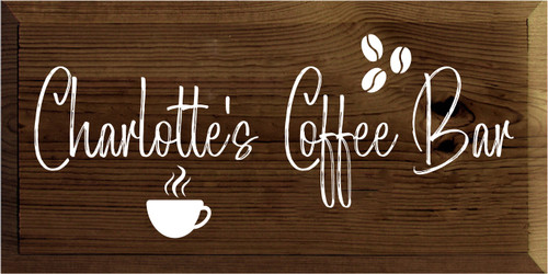 9x18 Walnut Stain board with White text  Charlotte's Coffee Bar