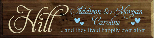 9x36 Walnut Stain board with Light Blue and Cream text  Hill Addison & Morgan Caroline ...and they lived happily ever after