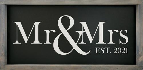 Mr & Mrs with Custom Established Year - Wood Framed Sign
