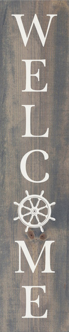 Weather Gray Personalized Welcome with Ship Wheel For O Vertical Wooden Sign
