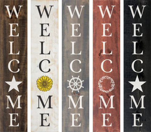 Personalized Welcome Vertical Wooden Sign