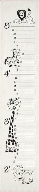 Wooden Growth Chart Sign with Zebra, Giraffe, Elephant, and Lion