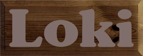 7x18 Walnut Stain board with Anchor Gray text  Loki