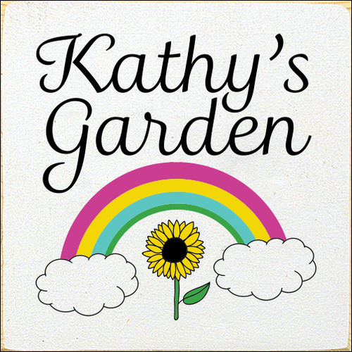 7x7 White board with Black, Yellow, Kelly, Aqua, and Blush text  Kathy's Garden with Rainbow and Sunflower
