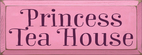 7x18 Pink board with Elderberry text  Princess Tea House
