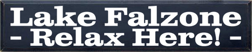 10x48 Navy Blue board with White text  Lake Falzone