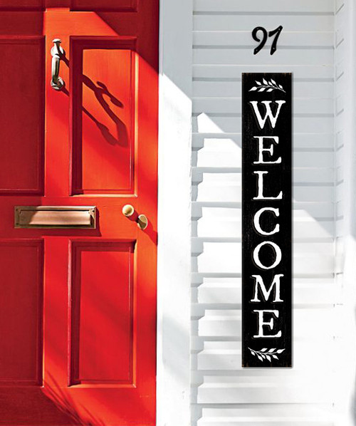 Outdoor Welcome Sign for Porch - Black with White Writing - Vertical Porch Board 8x47
