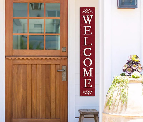 Outdoor Welcome Sign for Porch - Red with White Writing - Vertical Porch Board 8x47