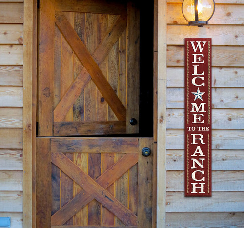 Outdoor Sign for Porch - Welcome To The Ranch - Vertical Porch Board 8x47