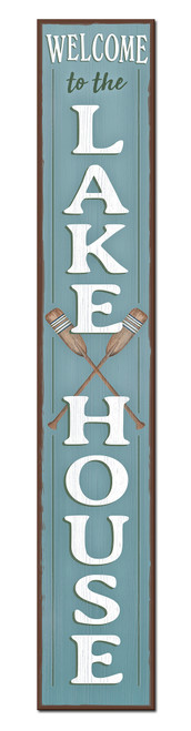 Outdoor Sign for Porch - Welcome To The Lake House - Vertical Porch Board 8x47