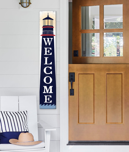 Outdoor Welcome Sign for Porch - Lighthouse - Vertical Porch Board 8x47 Nautical Theme