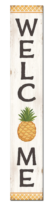 Outdoor Welcome Sign for Porch - Pineapple - Vertical Porch Board 8x47