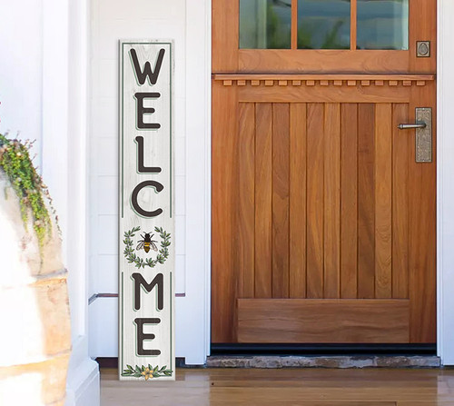 Outdoor Welcome Sign for Porch - Bee and Wreath - Vertical Porch Board 8x47