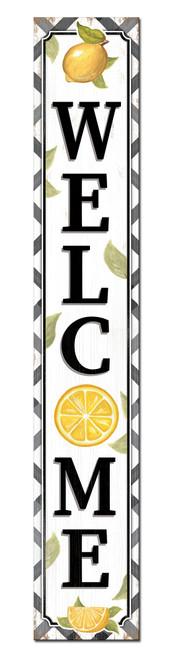 Outdoor Welcome Sign for Porch - Lemon Theme - Vertical Porch Board 8x47