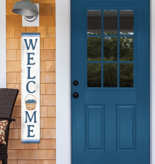 Outdoor Welcome Sign for Porch - White and Blue with Basket of Blueberries - Vertical Porch Board 8x47