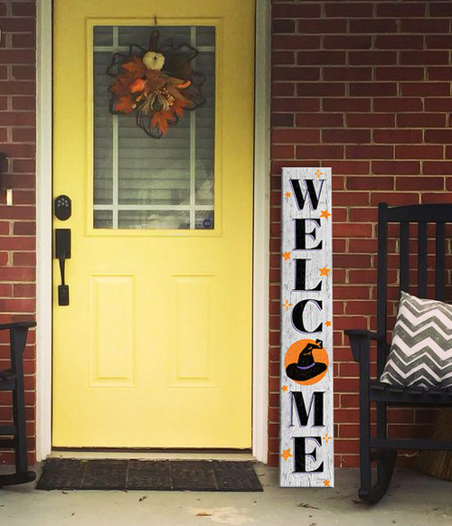 Outdoor Welcome Sign for Porch - Witch Hat - Vertical Porch Board 8x47 Halloween Theme